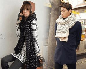 韓系保暖毛海針織圍巾,今日結帳再打88折