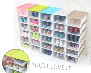 隱藏滑蓋可堆疊收納鞋盒,限時3.8折,今日結帳再享加碼折扣