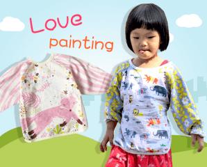 兒童棉質長袖反穿畫畫衣,限時3.1折,今日結帳再享加碼折扣