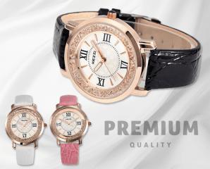 KEZZI晶鑽高貴皮帶腕錶,限時5.1折,今日結帳再享加碼折扣