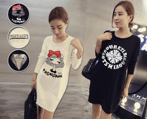 韓版中長款寬鬆印花T恤,今日結帳再打88折