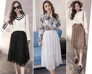 韓版雙層蕾絲網紗中長裙,今日結帳再打88折