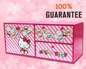 Hello Kitty四抽收納盒,限時5.6折,今日結帳再享加碼折扣
