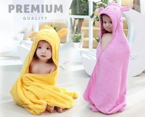 純棉萌熊披風式兒童浴巾,限時5.1折,今日結帳再享加碼折扣