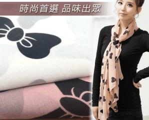 韓版時尚雪紡蝴蝶絲巾,限時1.6折,今日結帳再享加碼折扣