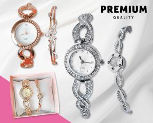 珍珠母貝鑲鑽手鍊手錶組,限時6.2折,今日結帳再享加碼折扣