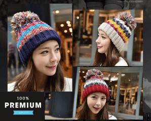 韓版針織混色保暖毛絨帽,限時3.4折,今日結帳再享加碼折扣