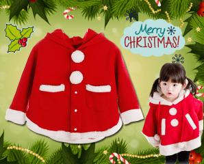 聖誕絨連帽保暖披風外套,限時5.6折,今日結帳再享加碼折扣